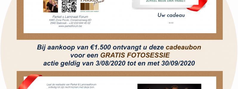 Bij aankoop van €1.500 ontvangt u deze cadeaubon voor een GRATIS FOTOSESSIE