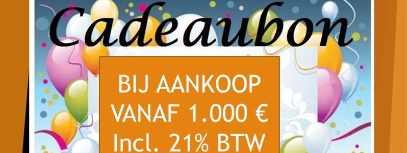 Cadeaubon bij aankoop vanaf 1.000 € incl. 21% BTW - GRATIS interieurartikel twv 50 € incl. 21% BTW